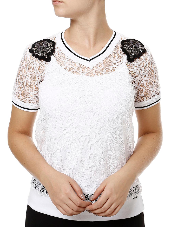 14f0566a1 Blusa Manga Curta Feminina com Renda Branco - Lojas Pompeia