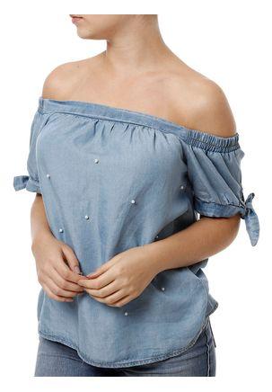 Blusa-Manga-Curta-Feminina-Jeans-Azul-Claro-P