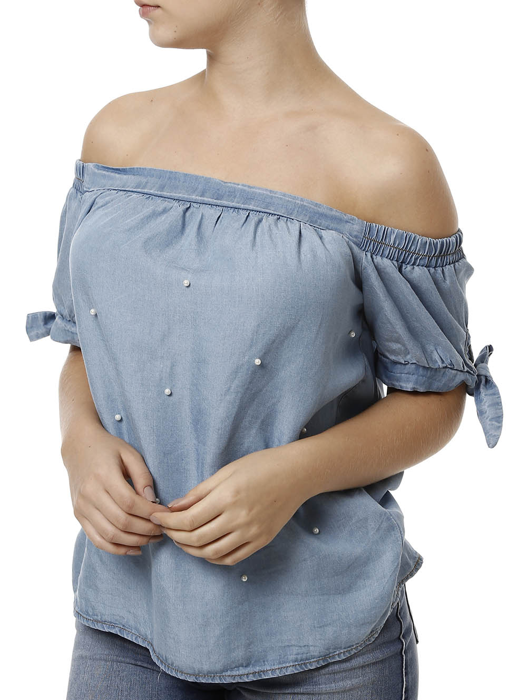 c049f88466 Blusa Jeans Manga Curta Feminina Azul Claro - Lojas Pompeia