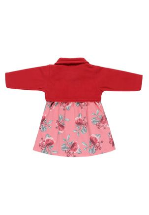 Vestido-Manga-Longa-Infantil-Para-Bebe-Menina---Vermelho-coral