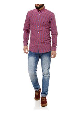 Camisa Manga Longa Masculina Vermelho P
