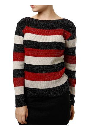 Blusa-de-Tricot-Feminina-Preto-vermelho