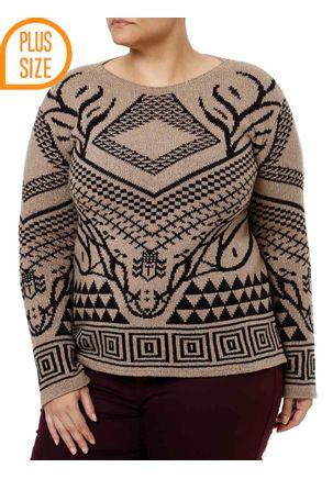 Blusa-de-Tricot-Plus-Size-Feminina-Autentique-Marrom-preto