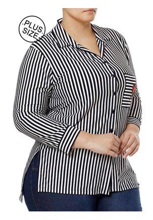 Camisa-Manga-3-4-Plus-Size-Feminina-Autentique-Azul-Marinho-branco-G2