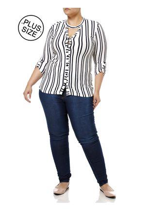 Camisa-Manga-3-4-Plus-Size-Feminina-Autentique-Branco-azul-Marinho-G2
