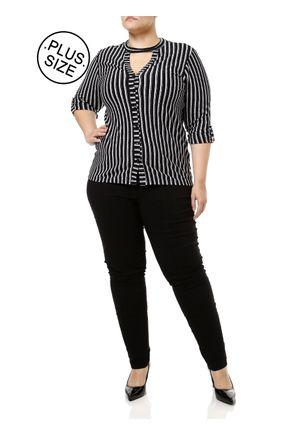 Camisa-Manga-3-4-Plus-Size-Feminina-Autentique-Preto-branco-G2