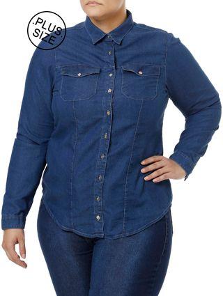 Camisa-Jeans-Manga-Longa-Plus-Size-Feminina-Azul-XG
