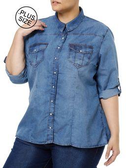 Camisa-Manga-3-4-Feminina-Azul