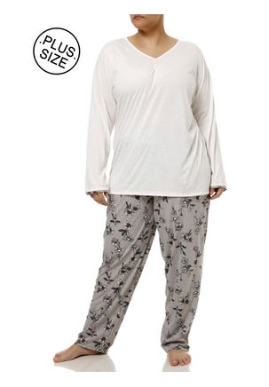 Pijama-Longo-Plus-Size-Feminino-Off-white-cinza
