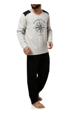 Pijama-Longo-Masculino-Cinza-preto-P