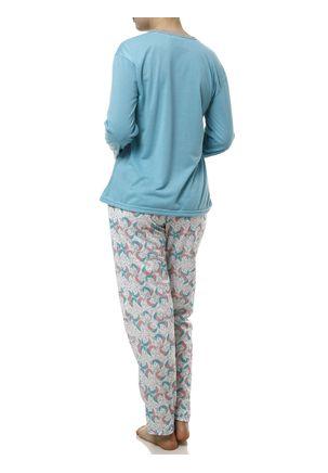 Pijama-Longo-Feminino-Verde-branco