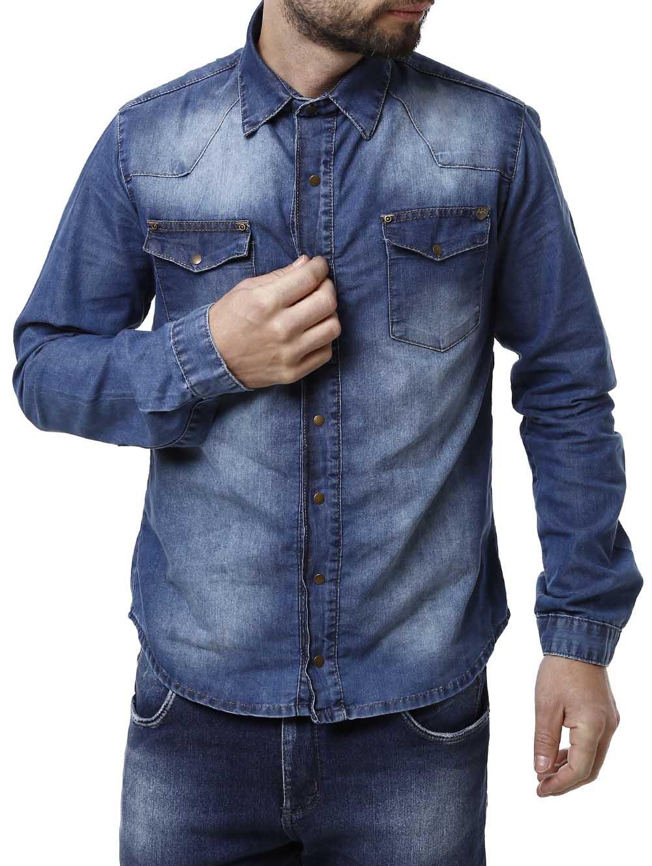 2f39a02b3f Camisa Jeans Manga Longa Masculina Azul - Lojas Pompeia