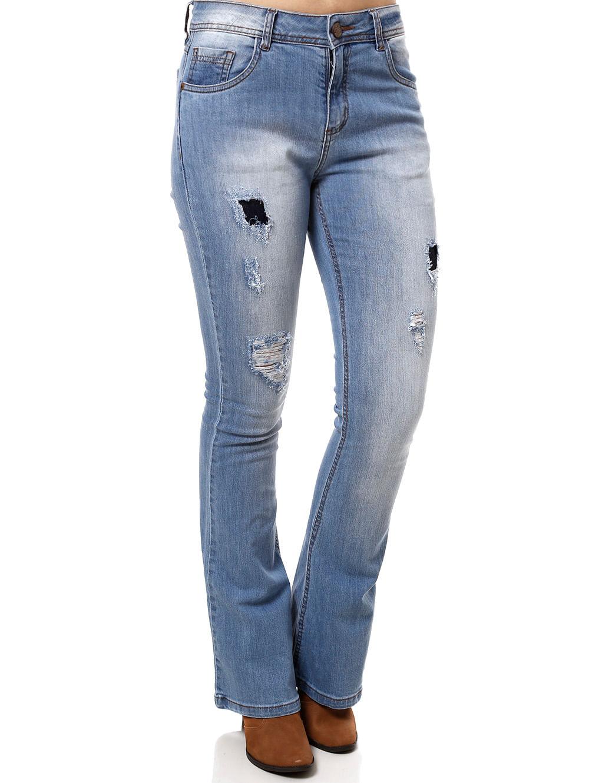 3d0edcb75 Calça Jeans Flare Feminina Azul - Lojas Pompeia