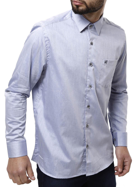 ea8d50f61b Camisa Manga Longa Masculina Elétron Azul Claro - Lojas Pompeia