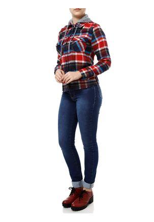 Camisa-Flanela-Manga-Longa-Feminina-Azul-Marinho-vermelho-P