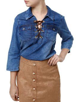 Blusa-Jeans-Manga-3-4-Feminina-Azul-P