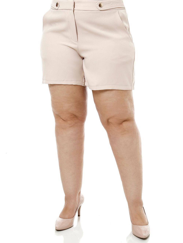 70e3fa95d Short de Tecido Plus Size Feminino Bege - Lojas Pompeia