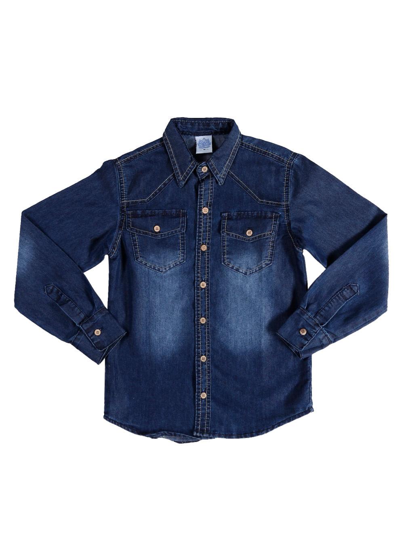 a1e8f3832f Camisa Jeans Manga Longa Juvenil Para Menino - Azul - Lojas Pompeia
