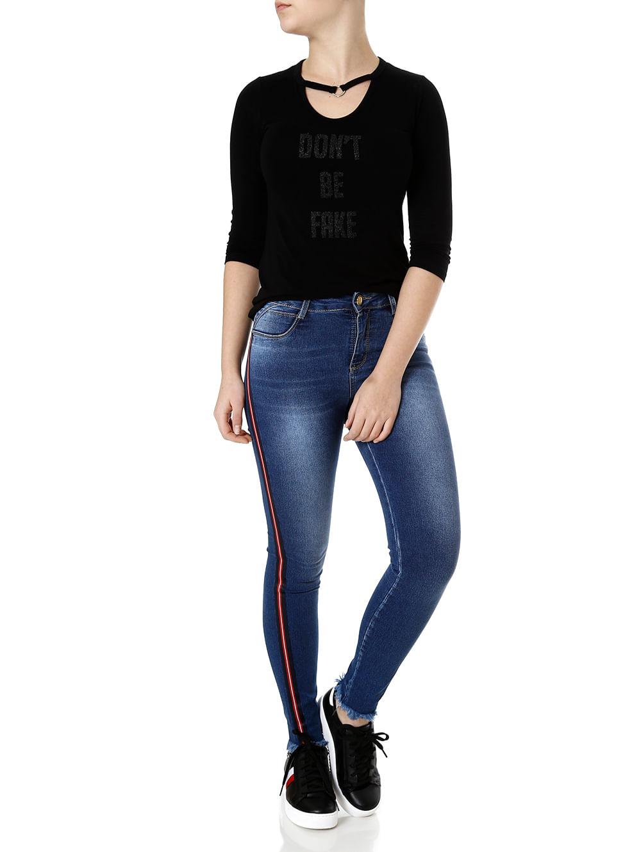 b225883b6 Calça Jeans Feminina Sawary Azul - Lojas Pompeia