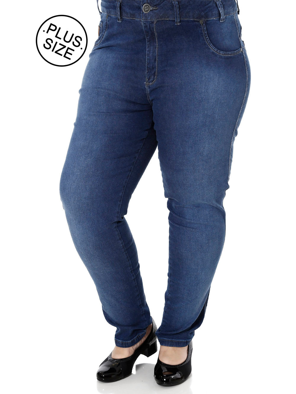 9ea41cd36 Calça Jeans Plus Size Feminina Bivik Azul - Lojas Pompeia