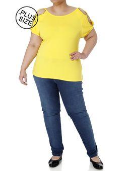 Blusa-Manga-Curta-Plus-Size-Feminina-Amarelo-M