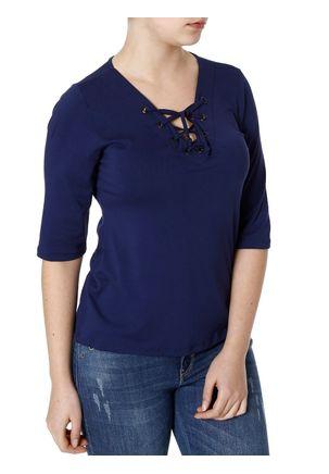 Blusa-Mga-3-4-Adulto-Feminino-Gata-Fashion-Azul