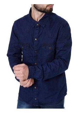 Camisa-Jeans-Manga-Longa-Masculina-Azul-Marinho-P