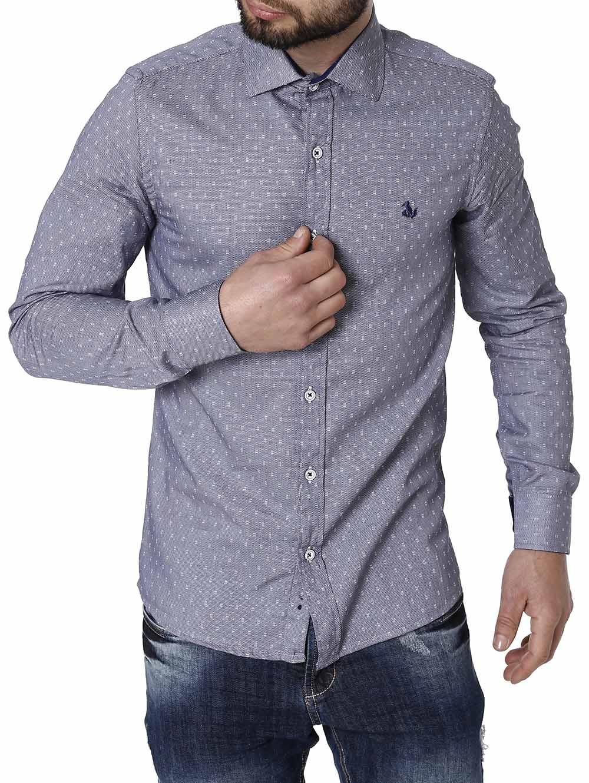 2f4f6fad5c Camisa Manga Longa Masculina Azul Marinho - Lojas Pompeia