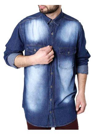 Camisa-Jeans-Manga-Longa-Masculina-Azul-P