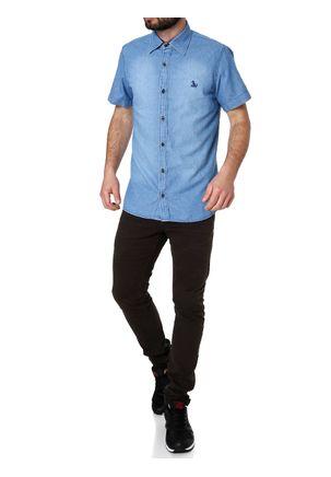 Camisa-Jeans-Manga-Curta-Masculina-Azul-Claro
