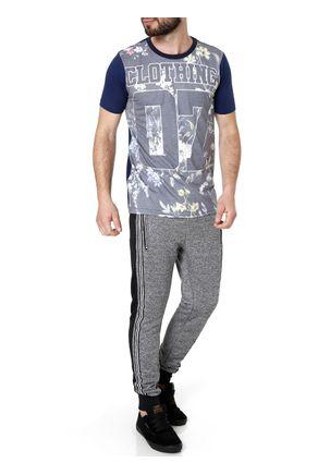 Camiseta-Manga-Curta-Masculina-Azul-marinho-cinza-P