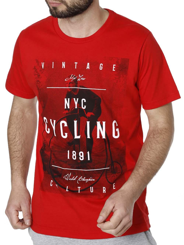 8354244ac Camiseta Manga Curta Masculina Vermelho - Lojas Pompeia