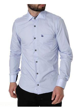 Camisa-Slim-Manga-Longa-Masculina-Azul-Claro-P