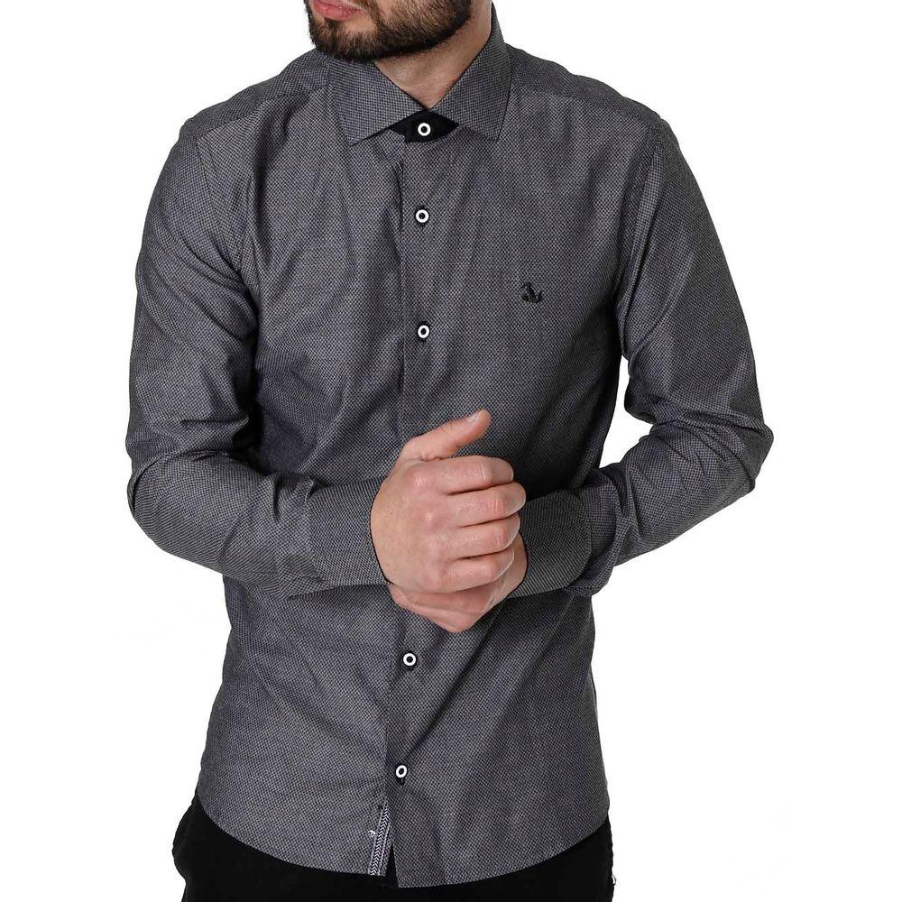 Camisa Slim Manga Longa Masculina Preto - Lojas Pompeia 3f12ffce60d70