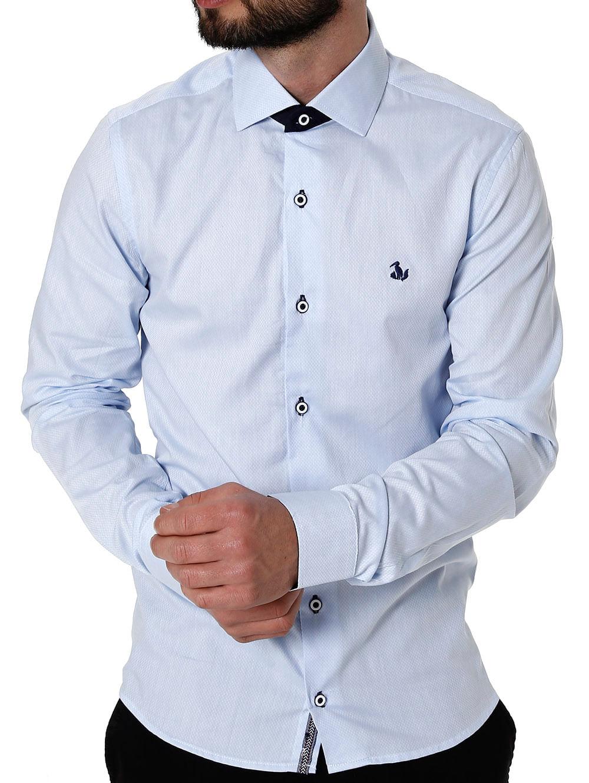 05c049a7e4 Camisa Slim Manga Longa Masculina Azul Claro - Lojas Pompeia