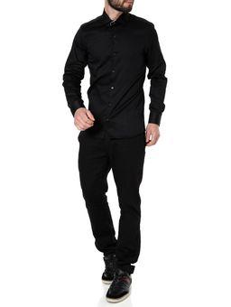 Camisa-Slim-Manga-Longa-Masculina-Preto-P