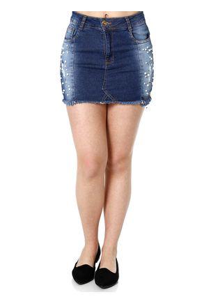 Saia-Curta-Jeans-Feminina-Azul