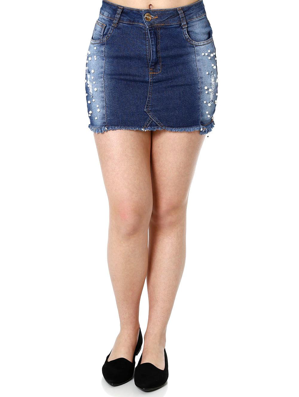 c423aa9b7c Saia Curta Jeans Feminina Azul - Lojas Pompeia