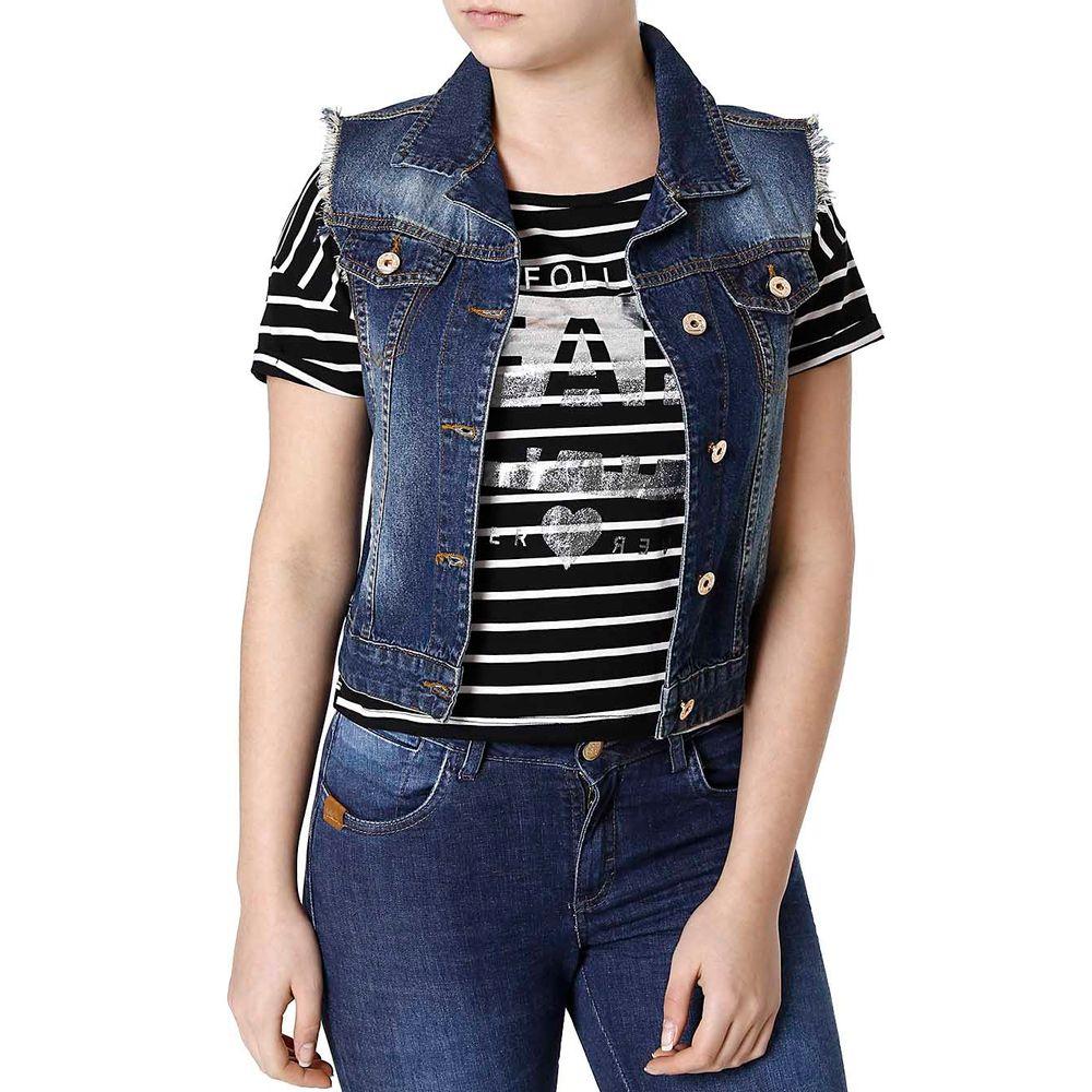 Colete Jeans Feminino Azul - Lojas Pompeia 27f997e24e6db