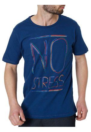 Camiseta-Manga-Curta-Masculina-No-Stress-Azul