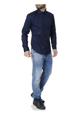 Camisa-Skinny-Manga-Longa-Masculina-Azul