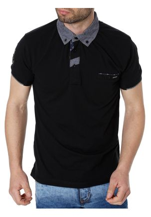 Polo-Manga-Curta-Masculina-Federal-Art-Preto