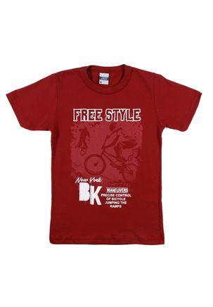 Camiseta-Manga-Curta-Juvenil-Para-Menino---Bordo