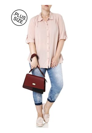 Camisa-Manga-Curta-Plus-Size-Feminina-Rosa