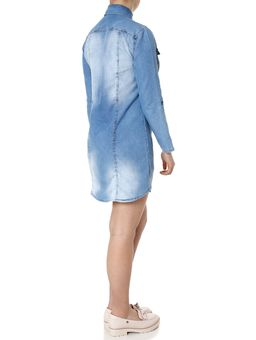 Vestido-Jeans-Manga-3-4-Feminina-Azul