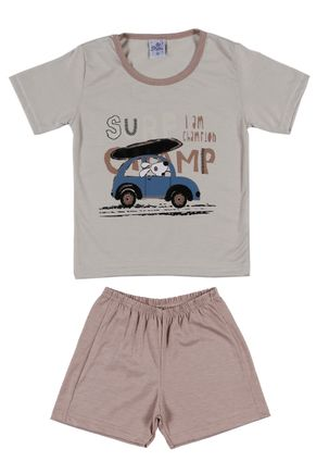 Pijama-Curto-Infantil-Para-Menino---Bege-caramelo-1
