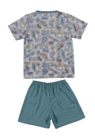 Pijama-Curto-Infantil-para-Menino---Verde-cinza