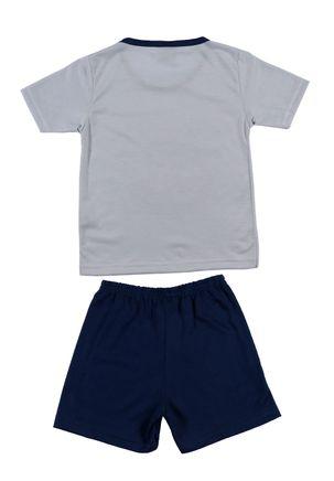 Pijama-Curto-Infantil-Para-Menino---Cinza-azul-Marinho