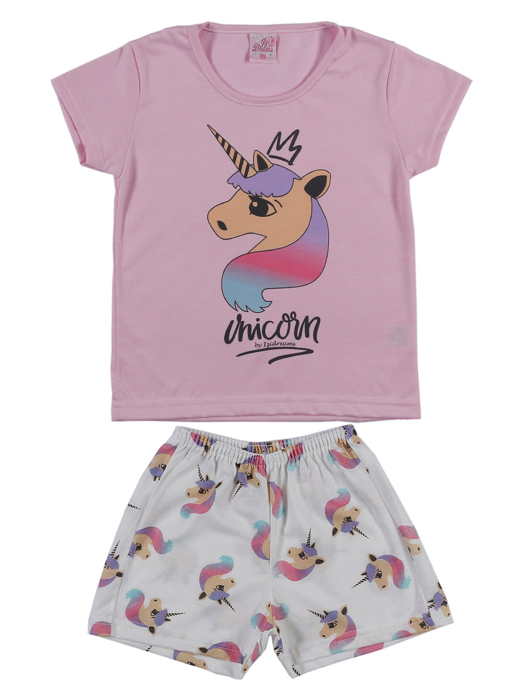 ad69e51e4d7025 Pijama Curto Infantil Para Menina - Rosa/off White