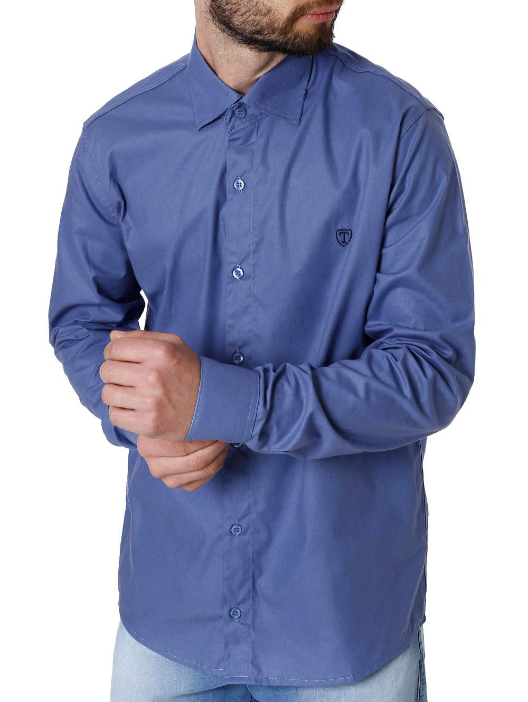 6b2847ec9c Camisa Manga Longa Masculina Azul - Lojas Pompeia